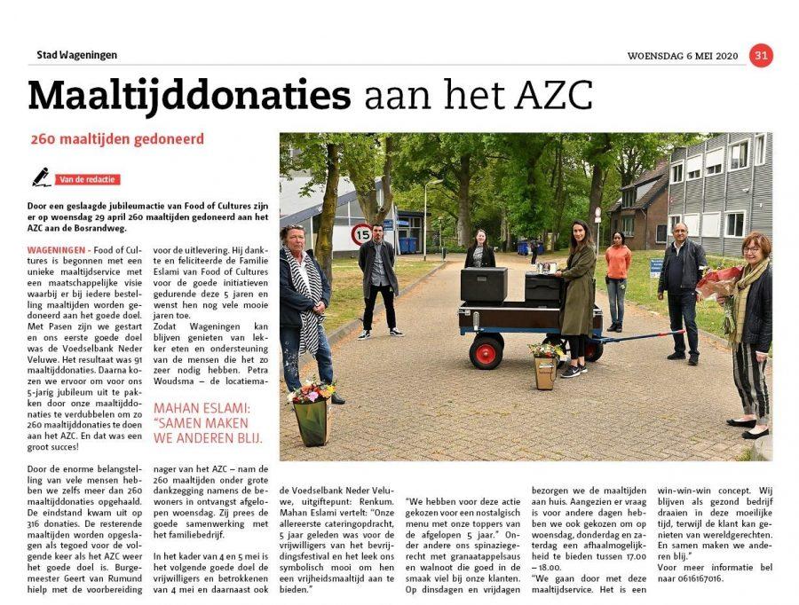 Maaltijddonaties aan het AZC